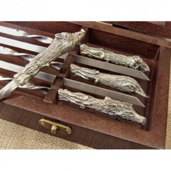 Комплект шампурів Мисливський трофей в кейсі з натурального дерева