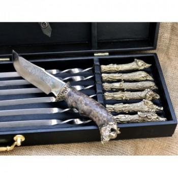 Набір шампурів Мисливський трофей з ножем в кейсі