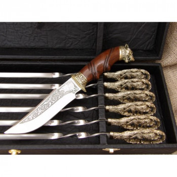 Набір шампурів Вовча зграя з ножем в кейсі