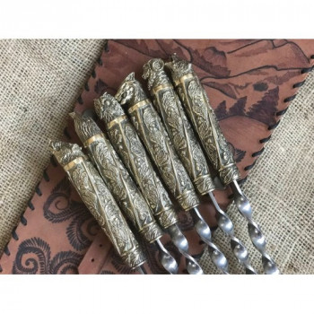 Шампура подарочные Дикие звери в закрытом колчане из натуральной кожи