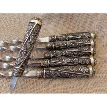 Шампура подарункові Лукоморя в сагайдаку з натуральної шкіри